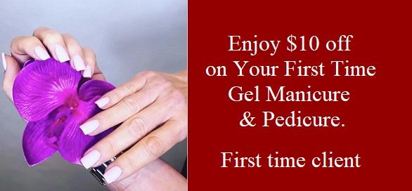 $10 off First Time Gel Mani Pedi