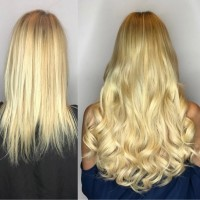 Styled Hair Extensions Before and After