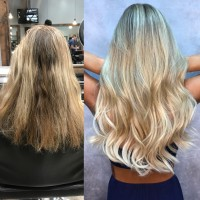 Color Styled Hair Extensions Before and After