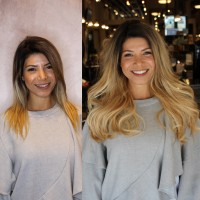Salon Hair Extensions Before and After
