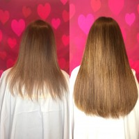 Color Matched Hair Extensions Before and After