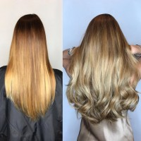 Great Legths Color Matched Hair Extensions Before and After