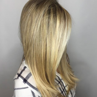 All over blonde highlights