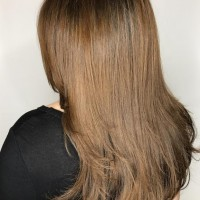 natural brown color and haircut