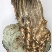 haircut and blowdry with curls