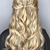 blonde balayage and wedding updo