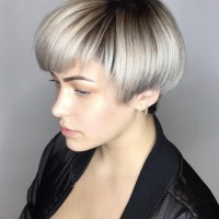 silver color short hair miami salon