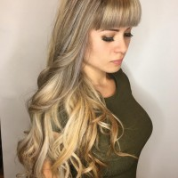 blonde hair  highlights and  bangs