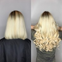 Professional Platinum Blonde Hair Color and Great Lengths Hair Extension Salon