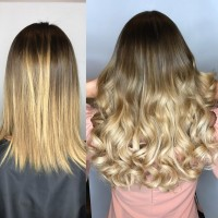 before and after hair extensions and balayage