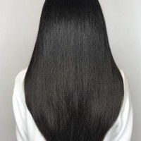 long black haircut and blowdry