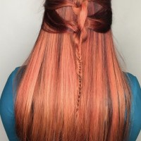 red balayage braided hairstyle