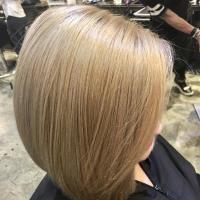 ash blonde tones and bob haircut