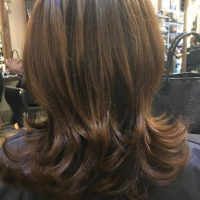 natural brown color layered cut