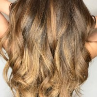 brown caramel balayage long hair