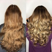Real REMI Bonded Hair Extensions Before and After - Coral Gables Salon