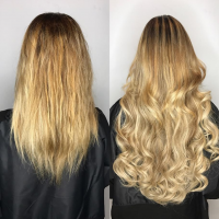 before and after balayage and extensions miami