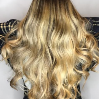 long hair balayage and waves miami