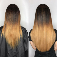 natural hair extensions before and after