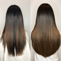 brunette hair extension miami salon