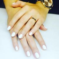 white nail polish manicure