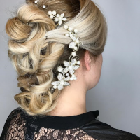 bridal updo and blonde highlights