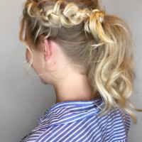 simple bridesmaid updo miami salon