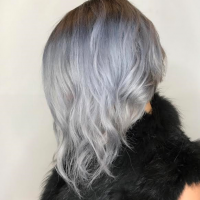 silver color edgy cut miami salon