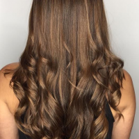 brown balayage and curls