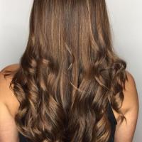 brown balayage and curls